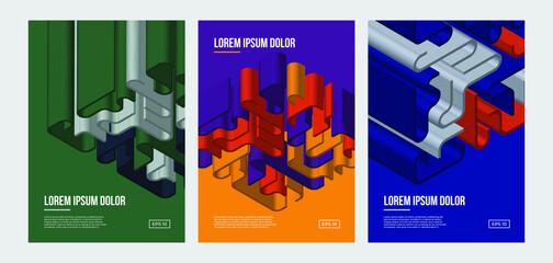 Minimal geometric posters set. Colorful 3D lines patterns.