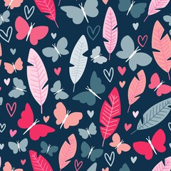 Colorful banana foliage and butterfly isolated vector objects styled as botany seamless pattern with navy background and cute insects with girly blush pink and greyish blue wings to print on bedding t