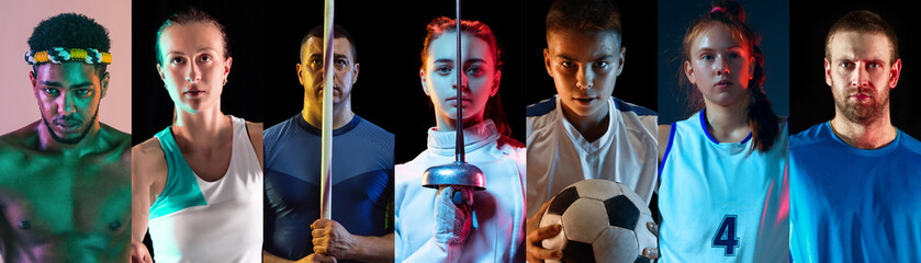 Portrait of athletes on multicolored background in neon light. Flyer, collage. Concept of human emotions, facial expression, sales, ad. Sport, movement, achievements. Tennis, basketball fencing