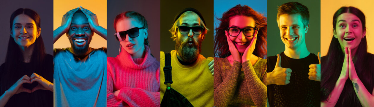 Portrait of people on multicolored studio background in neon light. Flyer, collage of 6 models. Concept of human emotions, facial expression, sales, ad. Heart gesture, wondred, shy, smiling, thumbs up