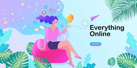 woman sitting in the park on the bench and working with laptop. Happy casual beautiful woman watching videos or enjoying entertainment. Flat modern illustration.