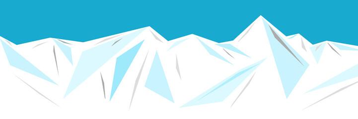 Illustration of an ice mountain range, iceberg or ice composed of geometric patterns. Cool background. 幾何学模様で構成される氷山脈、氷山または氷のイラスト ひんやり背景