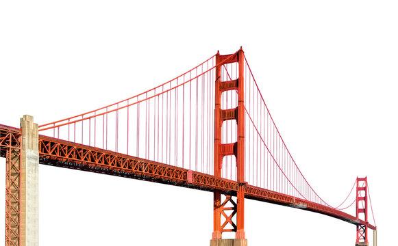Golden Gate Bridge (San Francisco, California, USA) isolated on white background