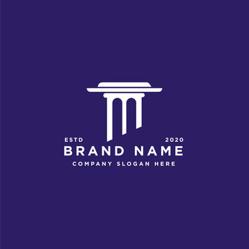 Initial M with Building Pillar Column logo design