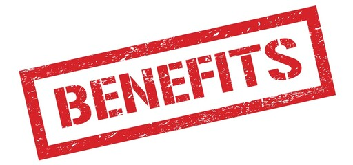 BENEFITS red grungy stamp.