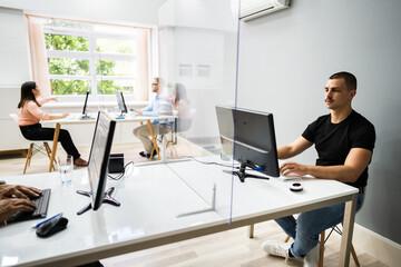 Business Employee Social Distancing Using Sneeze Guards