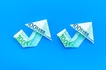 Arrow of euro chart - currency trading concept