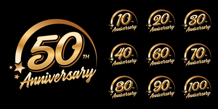 Set of anniversary logo with golden color for celebration event.