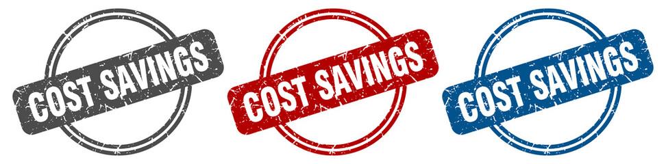 cost savings stamp. cost savings sign. cost savings label set