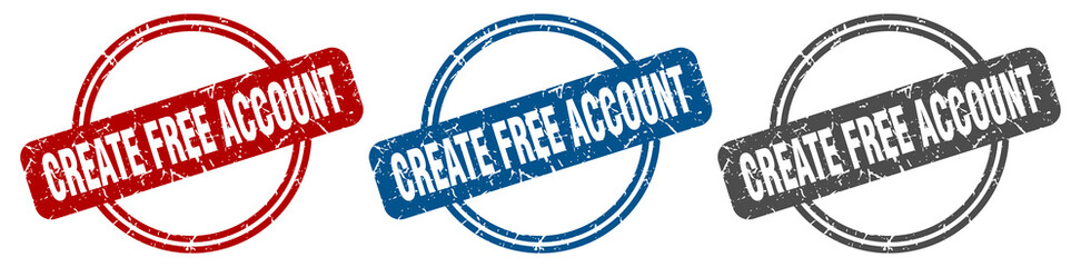 create free account stamp. create free account sign. create free account label set Wall mural