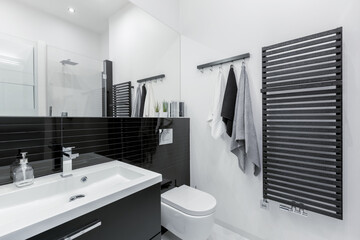 Simple black and white bathroom