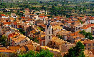 aerial view of the old town of Leucate, in France