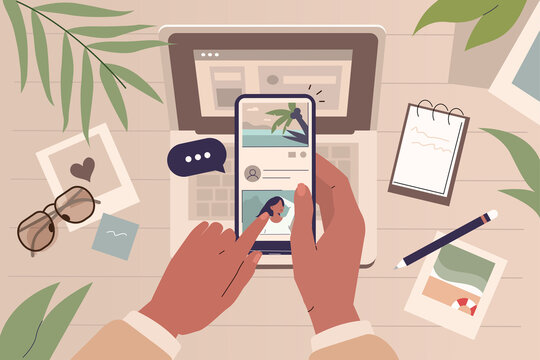 Photos Lying on Desk. Character Hands Holding Smartphones and Scrolling in Social Media. Social Media Manager or Blogger at Work. Social Influencer Concept. Flat Cartoon Vector  Illustration.