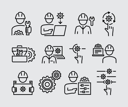 Engineering People Vector Line Icons Set