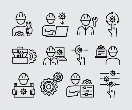 Engineering People Vector Line Icons Set