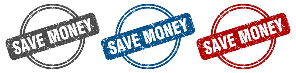 save money stamp. save money sign. save money label set