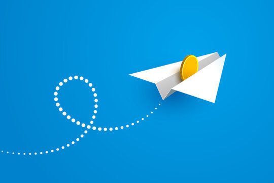 Paper airplane with gold coin inside is flying over blue background