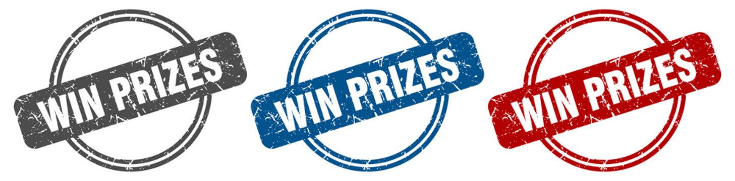 win prizes stamp. win prizes sign. win prizes label set