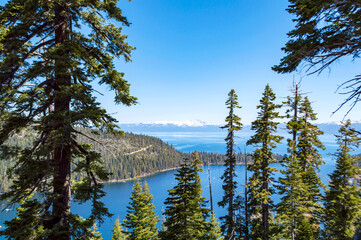 looking north from emerald bay toward the larger part of lake tahoe in california
