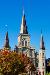 St. Louis Cathedral in New Orleans, Louisiana near Jackson Square in the autumn