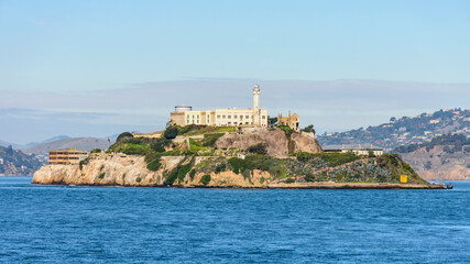 alcatraz island in san francisco bay as seen from one of the piers