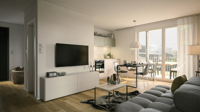 living room and kitchen apartment - 3d rendering