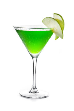 Green appletini cocktail in glass isolated on white background