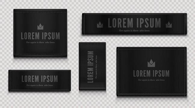 Black cloth labels for premium apparel, brand tags with crown symbol, textile badges with seams and fabric texture. Fashion clothing isolated on transparent background Realistic 3d vector illustration
