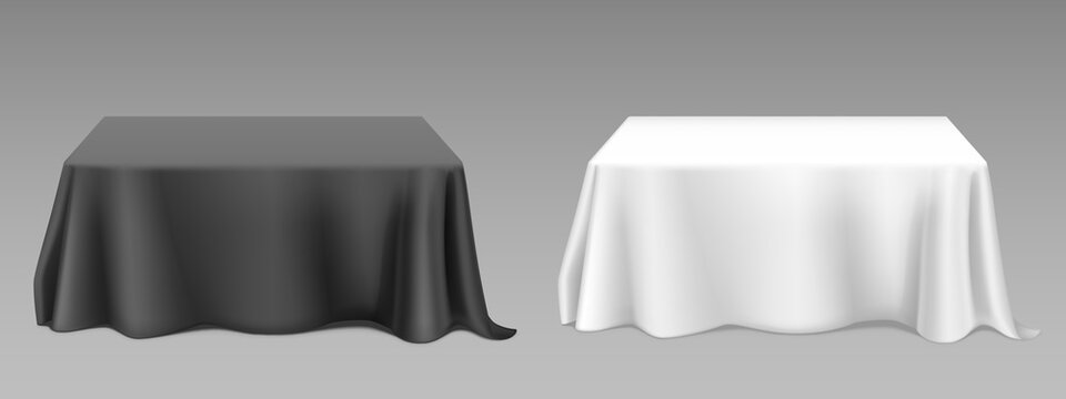 White black tablecloth on square tables. Vector realistic mockup of empty dining desk with blank linen cloth with drapes for banquet restaurant, holiday event or dinner. Template with fabric cover