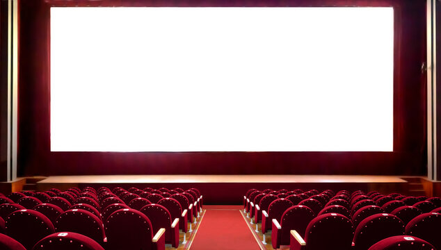 Empty red cinema seats with blank white screen for adding a picture