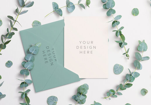 Card Envelope Mockup with Eucalyptus Sprigs