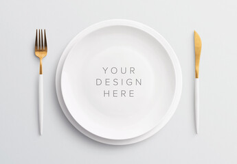 Table Set Mockup with Plate and Cutlery