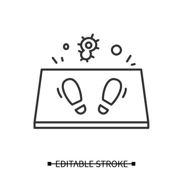 Disinfection mat icon. Antibacterial entrance foot bath linear pictogram. Concept of covid pandemic prevention measure and shoe disinfectant. Thin line editable stroke vector illustration