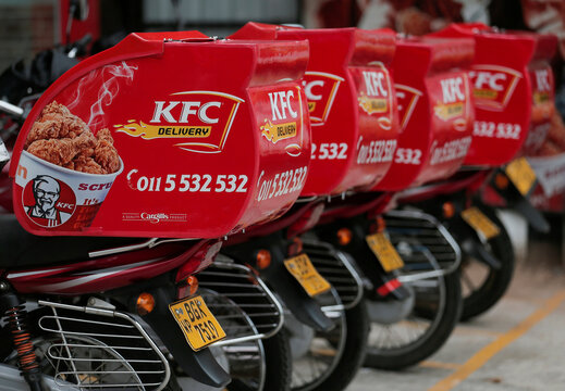 Delivery boxes on motorcycles are seen at a KFC fast food outlet, amid concerns about the spread of the coronavirus disease (COVID-19), in Colombo