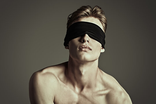 blindfold young man