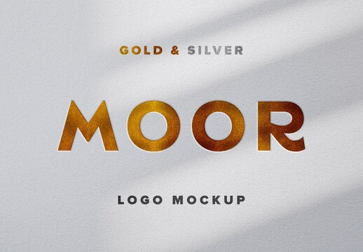 Gold and Silver Pressed Text Effect Mockup