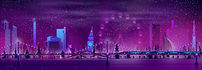 Photo sur Aluminium Violet Modern metropolis night landscape cartoon vector