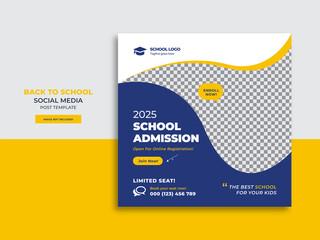 Back to school admission promotion social media post banner template design