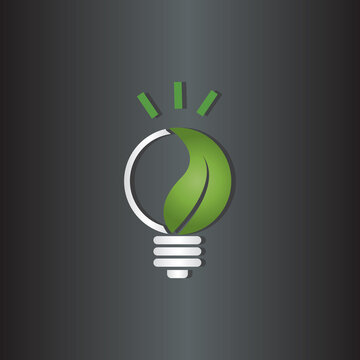 Light bulb icon symbol with leaf incolor white and green