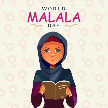 World Malala Day, 12th July, Malala Yousafzai, women reading book, education, illustration vector