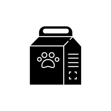 Pet food bag black glyph icon. Package of cat treat. Snack for domestic animal. Online petshop. Nutritious snack in packet. Silhouette symbol on white space. Vector isolated illustration