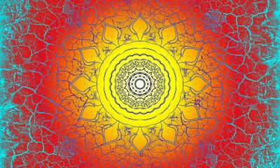 Hintergrund Oberfläche alte Farbe Risse blau Vintage Mandala Sonne indisch Maya alt Patina website Design orange gelb Layout Patina rustikal antik edel leuchten schimmern glänzend Leder hell Strahlen
