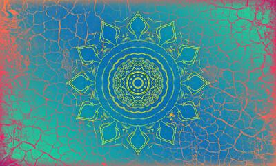 Hintergrund Oberfläche alte Farbe Risse Vintage Mandala Meer Atlantis alt Patina website Design türkis orange Layout Patina rustikal antik edel leuchten schimmern Glanz hell maritim Symbol Rad Sonne