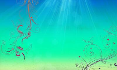 Hintergrund Meer Karibik Reisen Ornament floral website Design türkis grün blau Layout leuchten schimmern hell maritim Symbol Sonnenstrahlen Meeresgrund Unterwasser Wasser Blumen Flora See Ozean