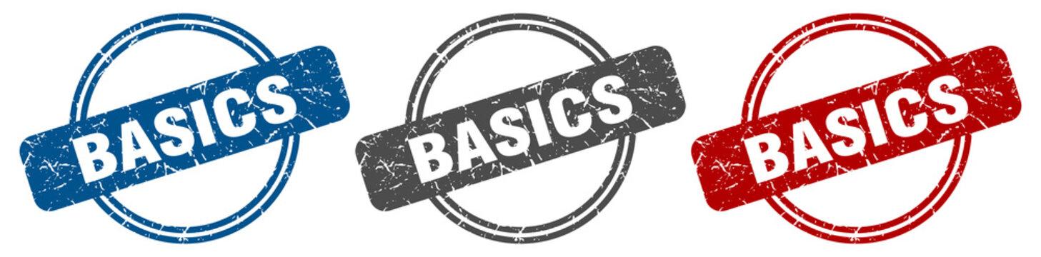 basics stamp. basics sign. basics label set