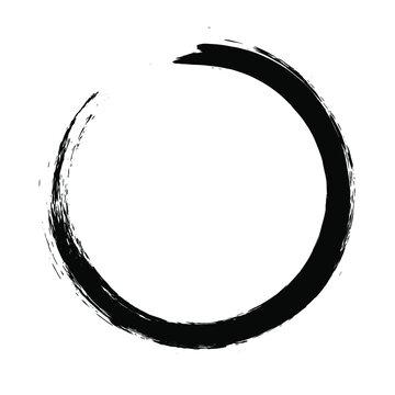 Circle ink brush stroke, black paint round frame, vector illustration.