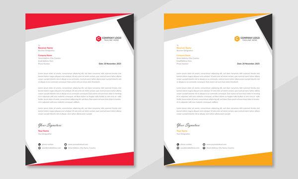 Elegant & professional letterhead template design with geometric shapes. Simple modern corporate letterhead template design in red & orange color.