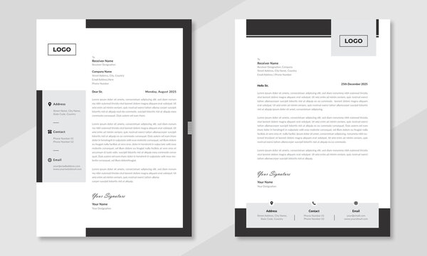 Minimalist concept business style letterhead template design. Professional & modern letterhead template design with geometric shapes. Vector graphic design.