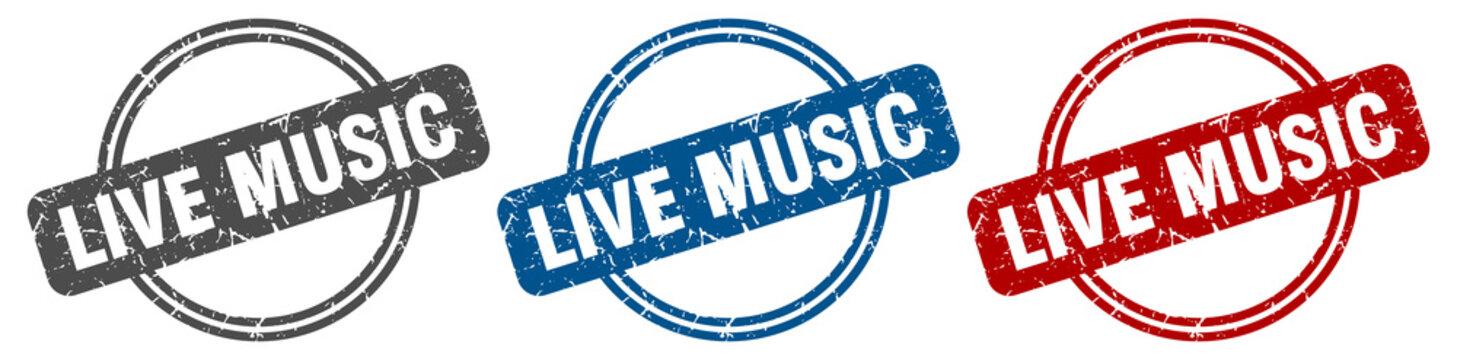 live music stamp. live music sign. live music label set