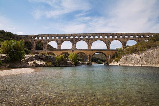 "Antique roman bridge called """"Pont du Gard"""" in the south of France"